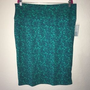 Navy Roses on Teal Cassie Skirt LuLaRoe BNWT 2X
